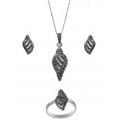 Marcasite Seashell Design Pendant, Earring, Ring Set