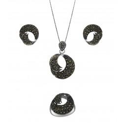 Marcasite Swirl Pendant, Earring, Ring Set