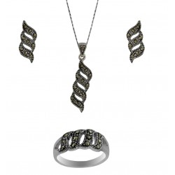 Marcasite Wavy Cutout Pendant, Earring, And Ring Set