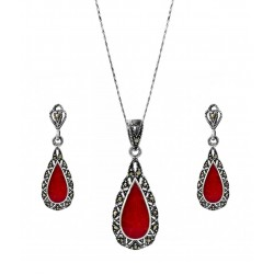 Victoria Teardrop Marcasite and Red Gem Pendant, Earring Set