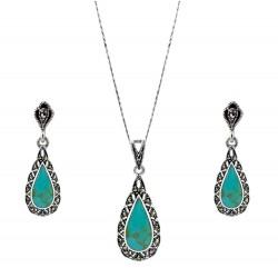 Victoria Teardrop Marcasite and Turquoise Gem Pendant, Earring Set