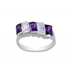 3 Clear And 3 Dark Purple Cubic Zirconia Ring