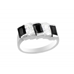 3 Clear And 3 Black Cubic Zirconia Ring