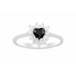 Black Crystal Heart Ring