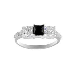 Black Square Crystal Ring
