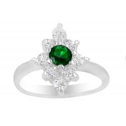 Dark Green Round Stone Oval Flower Ring