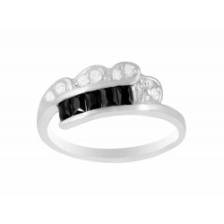 Double Row Square Black & Round Clear Crystal Ring