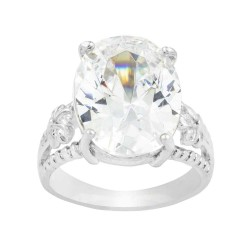 Large Clear Oval Czech Crystal With Flower Pattern Milgrain Sides Ring