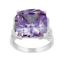 Square Czech Crystal Ring With Victorian side design