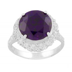 Large Dark Purple Round Czech Crystal With Trim