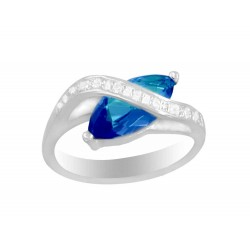Oval Stone with Crossover Ring