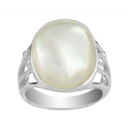 Oval Mother Of Pearl  Filigree Ring