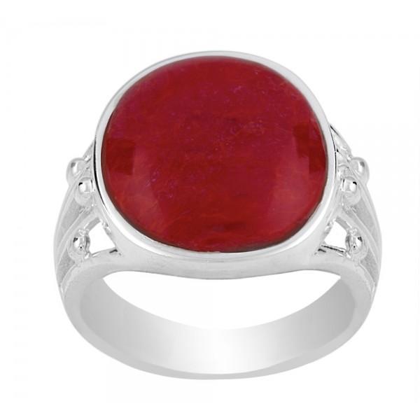 Oval Red Gem Filigree Ring