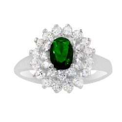 Green Oval Stone With Multi Cubic Zirconia