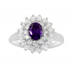 Oval Stone  With  Multi Cubic Zirconia