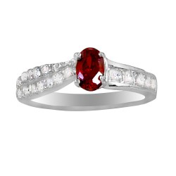 Red Oval Crystal & 3 Row of Clear Crystal Ring