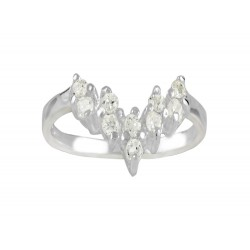 V Ring with  Clear Cubic Zirconia