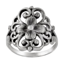 Sterling Silver 19 mm Floral Filigree Flower Ring