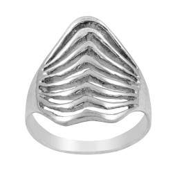 Sterling Silver 20 mm Multi Wave Cut Out Ring