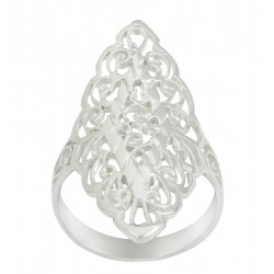 Cut Out Long Floral Filigree Design Ring