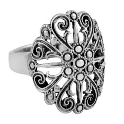 Filigree Ring With Center Flower