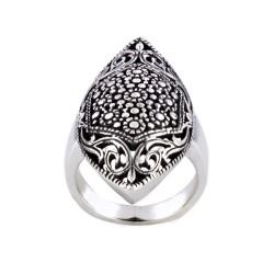 Long Oval Shape Bali Style Filigree Woman's Ring