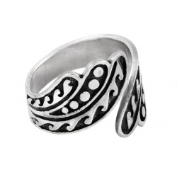 Oxidized Sterling Silver Adjustable Spoon Ring