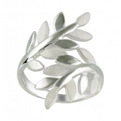 Satin And Silver Vine Leaf Thumb Ring