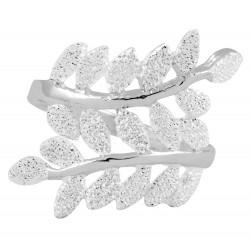 White Glitter  Leaf Vine Sterling Silver Ring