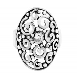 Wide oval ring with Spirals