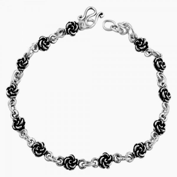 Flower Rose Link Bracelet Oxidized