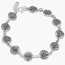 Silver Round Flower Cut out Bracelet Oxidized