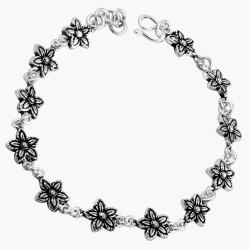 Five Petal Flower Link Bracelet Oxidized