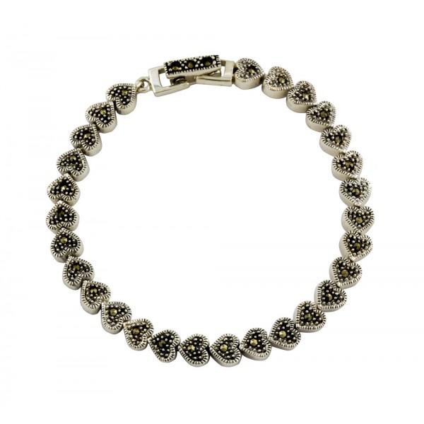 Marcasite Heart Link Bracelet