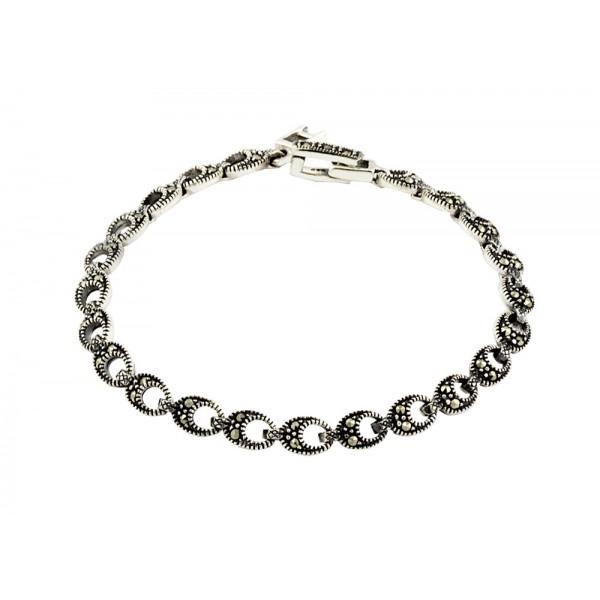 Marcasite Teardrop Cut Out Link Bracelet