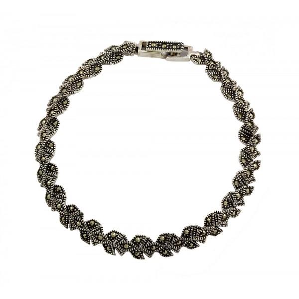 Marcasite Three Leaf  Bracelet