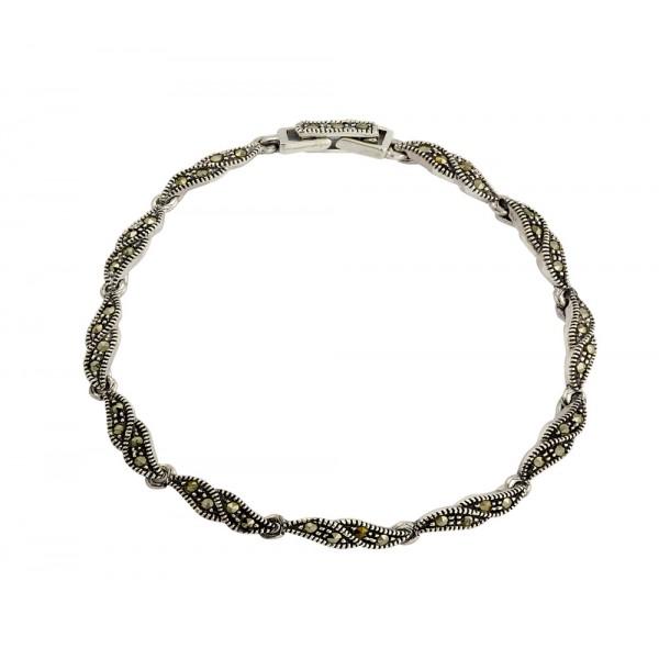 Marcasite Twist Leaf Bracelet