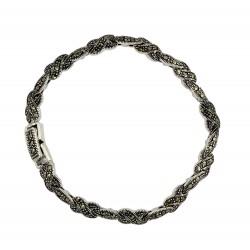 Marcasite Twist 'X' Link Bracelet