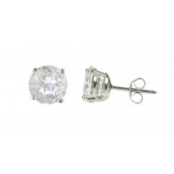 .925 Sterling Silver Round Shape Clear Cubic Zirconia Stud Earrings