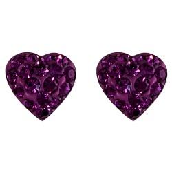 Purple Crystal Heart Stud Earring