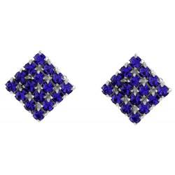 Dark Blue Micro Pave Square Stud Earrings