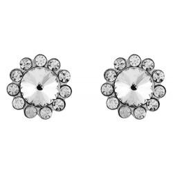 Flower With Large Crystal  Stud Earrings