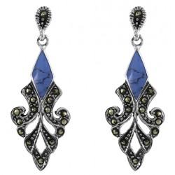 Marcasite  Teardrop With Turquoise Gem  Stud Earrings