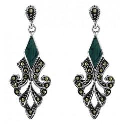 Marcasite  Teardrop With Light Green Gem  Stud Earrings
