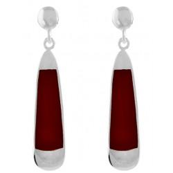 Inlay Wide Long Teardrop Earrings