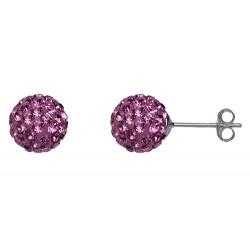 Indian Pink 8 mm Crystal  Shamballa Stud Earrings