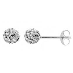 Clear 6 mm Crystal  Shamballa Stud Earrings