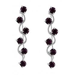 Zig Zag With Dark Purple Crystal Hook Earring