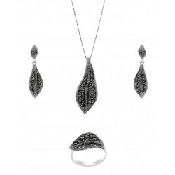 Marcasite Medium Single Leaf  Pendant, Earring, Ring Set