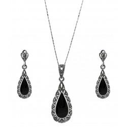 Victoria Teardrop Marcasite and Black Gem Pendant, Earring Set